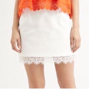 Topshop NWT Boucle Textured Mini Skirt Lace Hem
